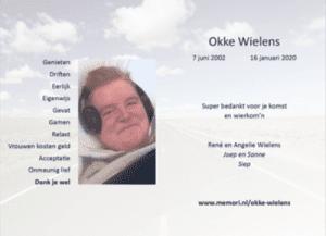 Afscheidskaartje van Okke
